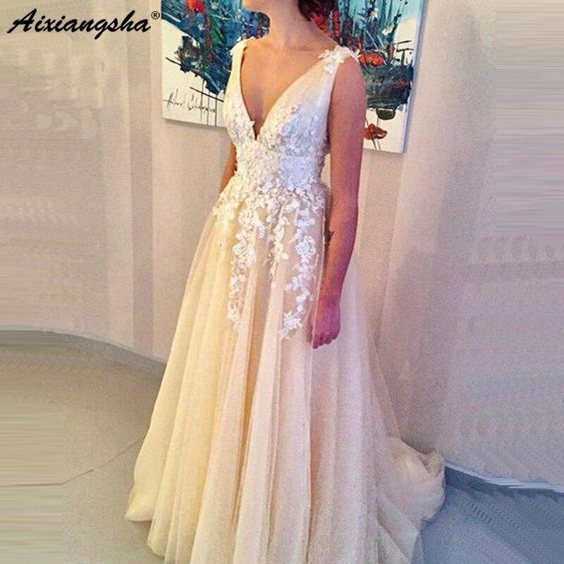 Mousseline de soie 2019 robes de bal longues col en v sans manches longueur de plancher Train Tulle ivoire Sexy robe de soirée gala jurken