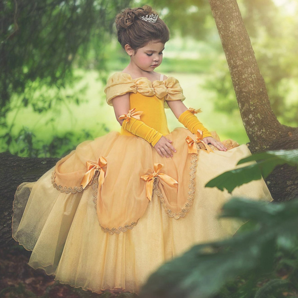 New Arrivals Little Girls Costume for Girls Yellow Princess Dress Party Christmas Halloween Cosplay Dress купить в Москве 2019