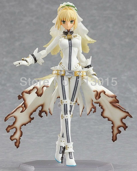 ФОТО Anime Figure Fate / Extra Doll Figma Saber Bride Wearing a tight wedding Dress Pvc Figurine 14cm