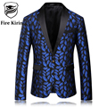 Fire Kirin Blazer Men 2017 Royal Blue Mens Blazer Slim Fit Mens Stage Wear Fashion Printed Wedding Blazers Male Floral Suit Q56