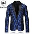 Kirin fuego Hombres Blazer 2017 Royal Blue Mens Blazer Slim Fit Mens Desgaste de la Etapa de Moda Impreso Boda Blazers Traje Floral Q56