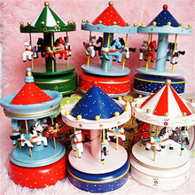 Merry-Go-Round Carousel Music Box for Kids Children Christmas Birthday Gifts Toys Multi Colors Wedding Decoration Wooden Crafts