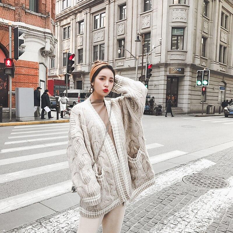 Hiver Lâche Femelle 2018 Vêtements Femmes Tricoté Surdimensionné Automne Style Cardigan Nouvelles Avec Poches De Torsion Coréen H306 Chandail qZUYqP