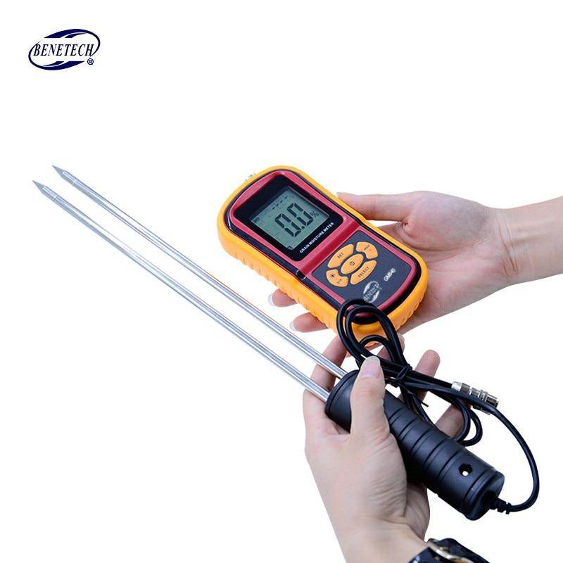 100% Original BENETECH GM640 Food Moisture Meter with Probe needle Corn Wheat RiceTemperature Humidity Tester Monitor