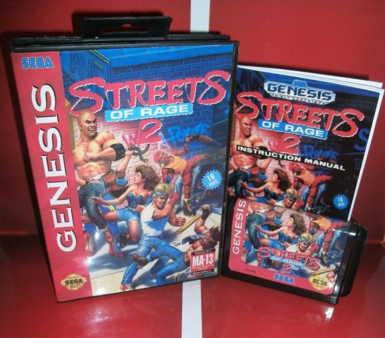 Juegos de Sega tarjeta de Calle de Rage 2 con caja y manual para Sega MegaDrive