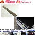 For Hyunda1 Tucson 2015 2016 car body Styling cover Stainless Steel Inner Rear Bumper trim plate lamp frame threshold pedal 1pcs