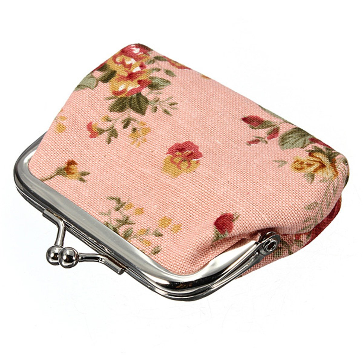 Women Roses Floral Fabric Clip Mini Small Coin Pocket Purse Bag Clutch
