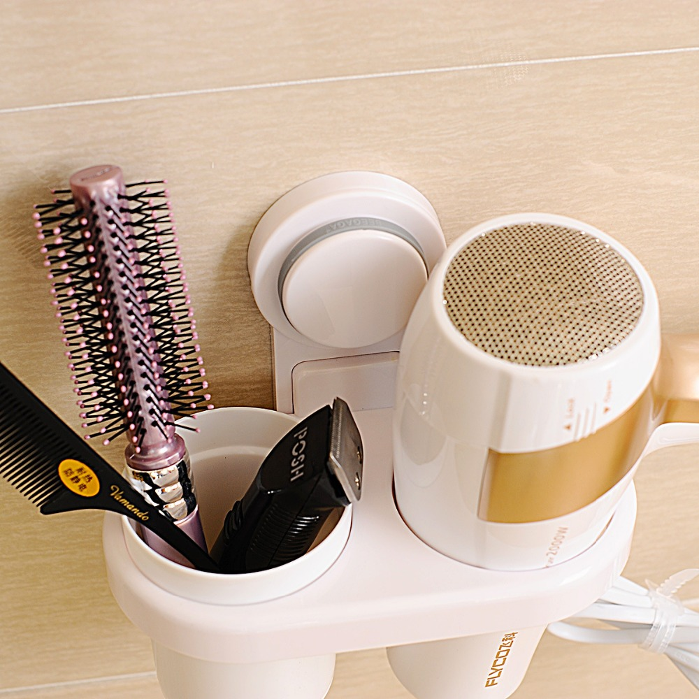 2016 NEW bathroom accessory set Powerful suction wall electric hair dryer hairdryer frame bathroom shelf shelf storage cup free. image