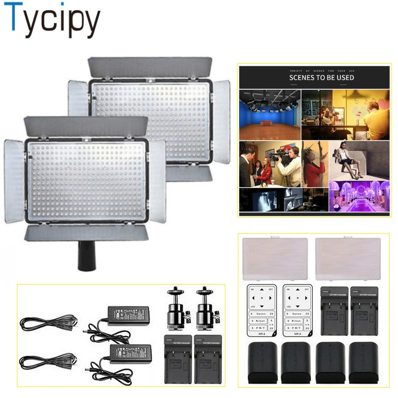 Tycipy 2Sets LED Light Video Dimmable Camera Photo Studio Lighting Kit for Video Shoot Canon Nikon With Remote Control Battery