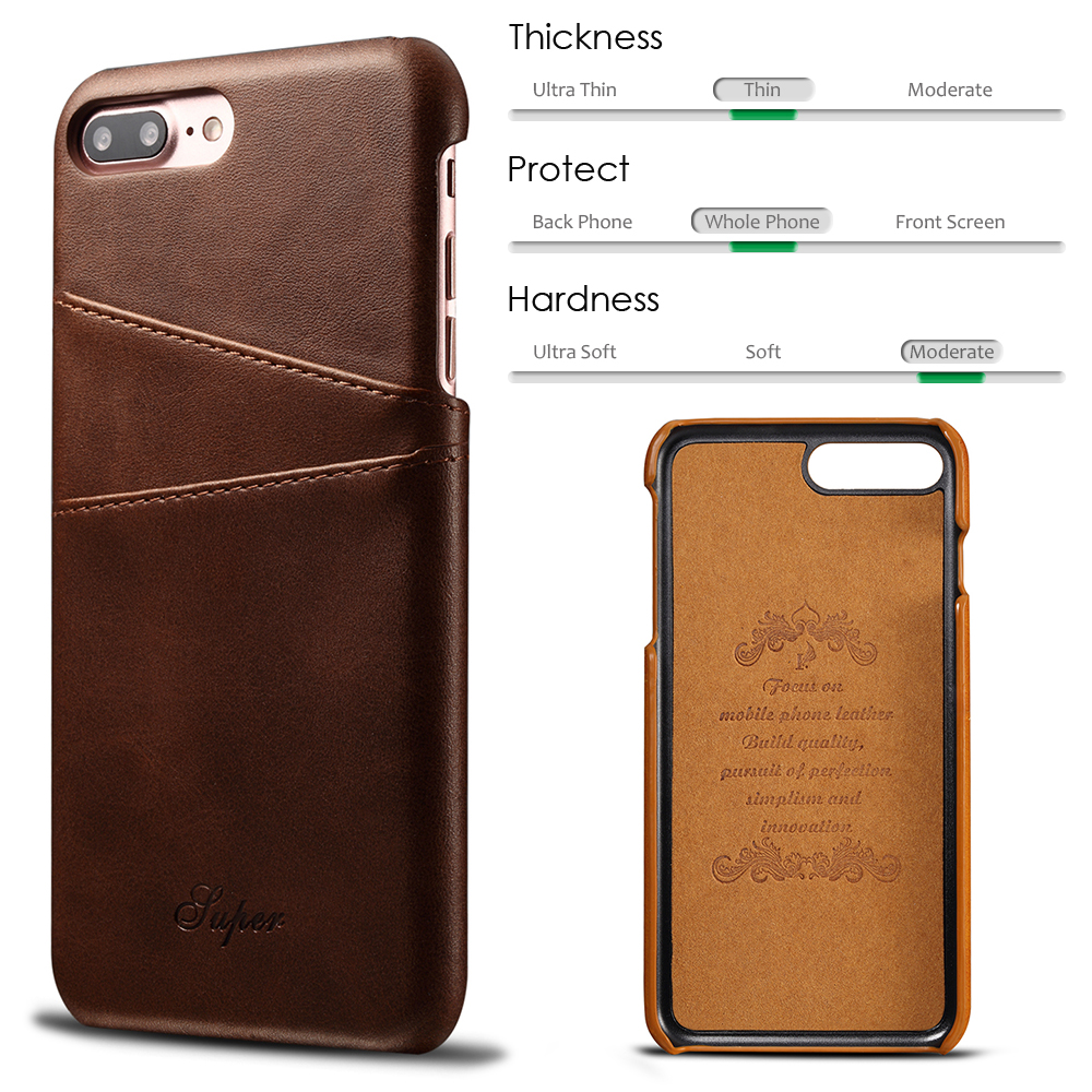 KIP7P1158_3_Slim Leather Back Cover For iPhone 7 8 Cow Case Ultra Thin Wallet Card Holder Back Covers For iPhone 7 Plus 8 Plus