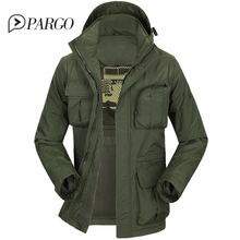 2016 brand mens clothing casual men's jackets cotton Parkas coats Military Jacket long sleeve regular plus size 877-1