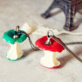 XS010 Women Long Chain Colar Fashion Jewelry Green Red Apple Pendant Fruit Necklace Collares Bijoux HOT Sale