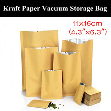 "100pcs 11x16cm (4.3""x6.3"") 280micron 3 Sides Sealing Paper Kraft Storage Bag Heat Sealed Vacuum Foil Bag Open Top Paper Bag"