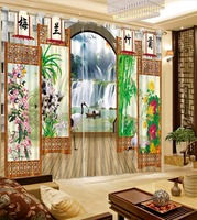Classic Home Decor Curtain Design 3D Curtain Chinese Style Screen Waterfall Blackout Shade Window Curtains For Bedroom
