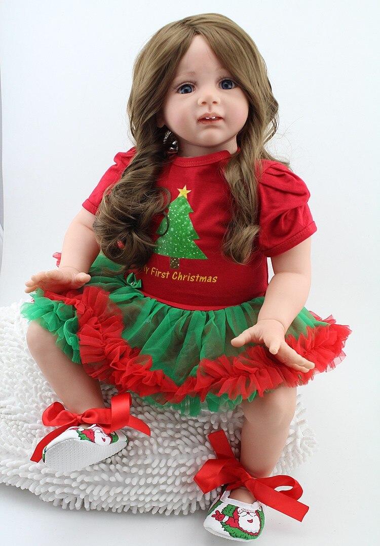 NPK real girl doll rebirth 24 60CM silicone baby reborn bone coffin lifelike red dress doll girl Christmas gift