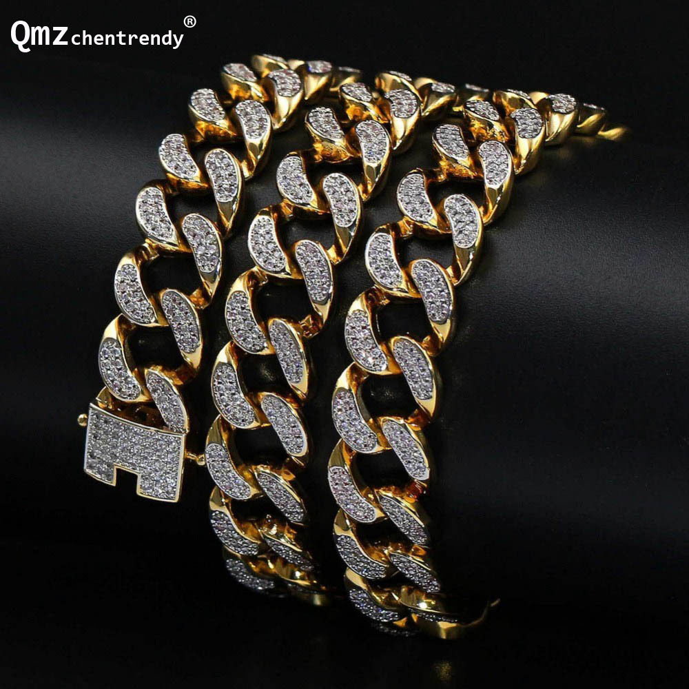 Men's Hip hop 13mm Iced Out Zircon Jewelry Miain Cuban Chain Necklace Golden micro CZ Pave Clasp Cuban Necklace Drop Shipping цены