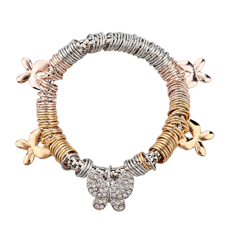 Szelam Luxury Fashion Butterfly Pendant Charm Bracelets Women Brand Famous Crystal Vintage Bangles Woman 2019 New SBR140338