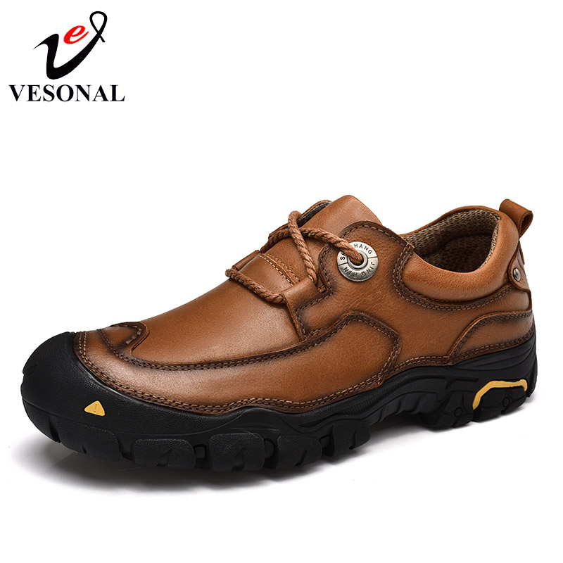 VESONAL Genuine Cow Leather Male Shoes For Men Adult Solid Handmade Mens Footwear Non-Slip Wear-Resisting Comfortable Quality