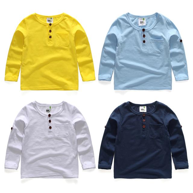 2017 primavera e no outono meninos breve criança longo-luva Camisetas meninos t botão de camisa de cor sólida camisa básica do bebê 100% algodão top