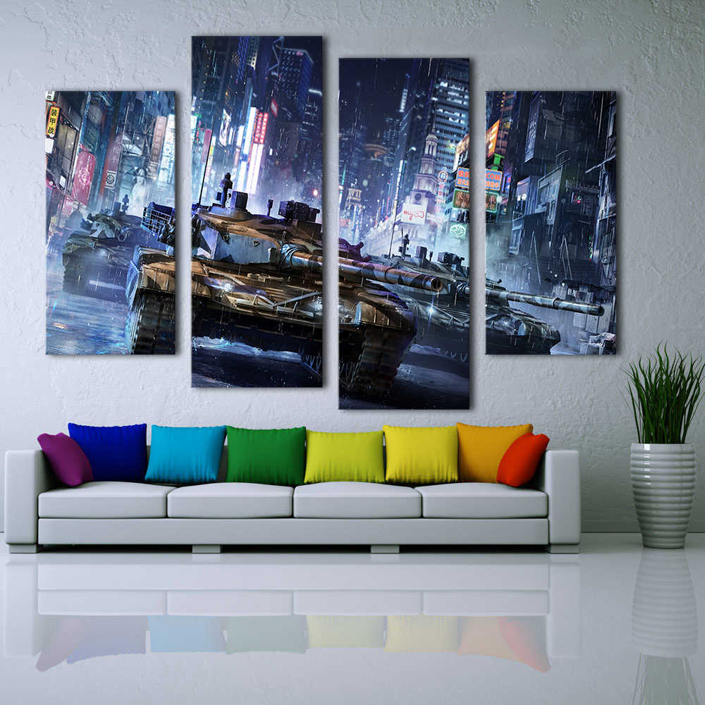 QKART 4PCS Panels Landscape Painting Armored Warfare The Tank In City Canvas Art Wall Pictures for Living Room Home Decor
