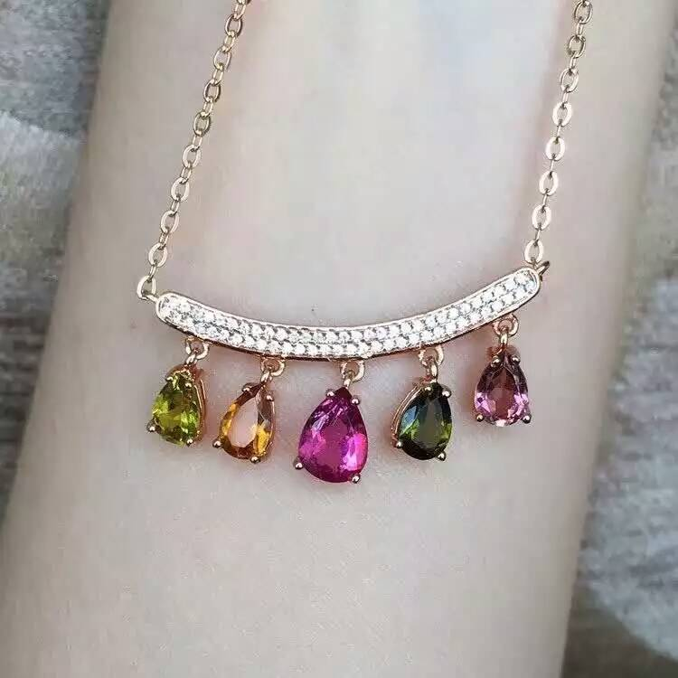 Natural Multicolor tourmaline Necklace natural gemstone Pendant Necklace S925 silver Fashion Elegant Smiling face drop Jewelry retro style double layered smiling face hat pendant necklace for women