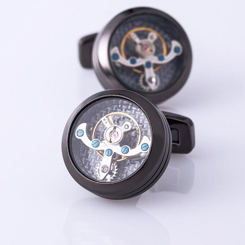 Mancuerna de la camisa de la joyería de kflk para el mens reloj mecánico movimiento cuff Link alta calidad tourbillon envío gratis - 5