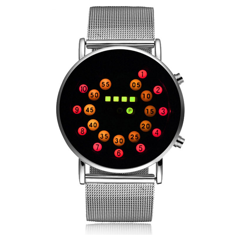 Watches Men's Watches New Fashion Led Light Spots Dial Mens Watch Creative Dot Digital Clock Male Luxury Silver Metal Iron Net Web Mesh Unique Gifts