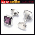 2017 Luxury Silver Plated Purple Crystal Square Cuff Link for Man Wholesale CZ Diamond Weddings Party French Shirt Cufflink Gift