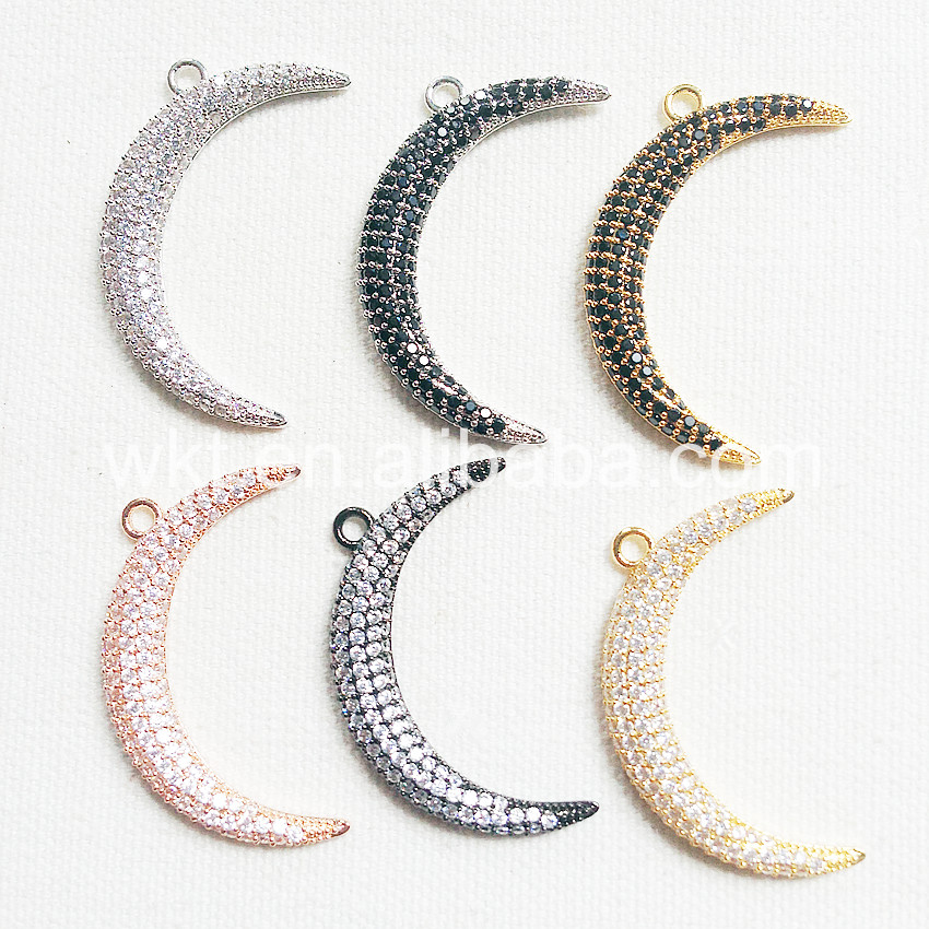 Wt p792 fashion desings crescent moon pendant for necklace micro wt p792 fashion desings crescent moon pendant for necklace micro paved pendant rose gold black gun plated pendant style jewelry in charms from jewelry aloadofball Image collections