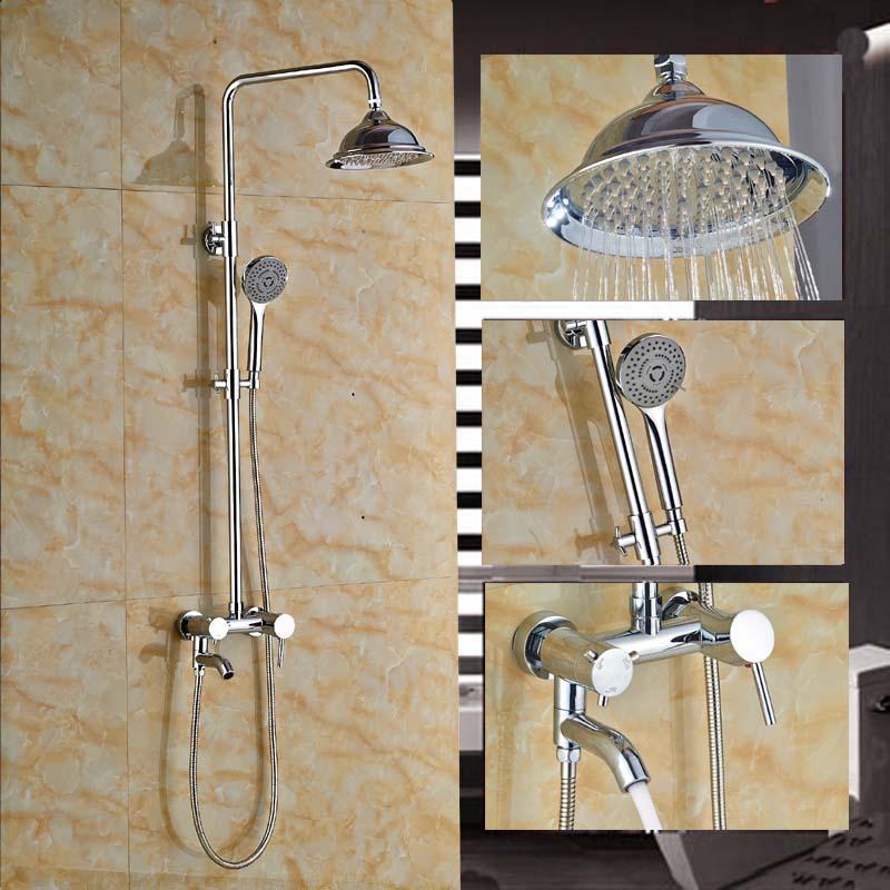 Round 8 Rain Shower Head Tub Spout Shower Faucet Hand Sprayer Chrome Finish poiqihy chrome rain
