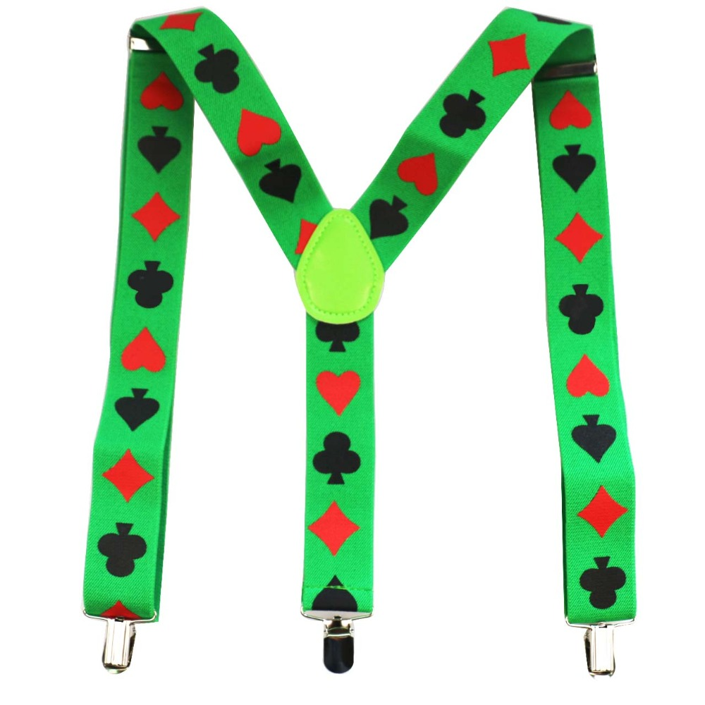 FOXMOTHER New Male 3.5cm Wide Y-Shape Clip-on Green Color Poker Braces Suspender For Mens