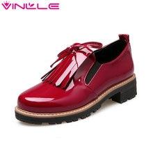 VINLLE/2017 г. женские туфли-лодочки британский стиль Обувь на среднем каблуке обувь на платформе удобные квадратный каблук круглый носок женская обувь для вечеринок размеры 34–43