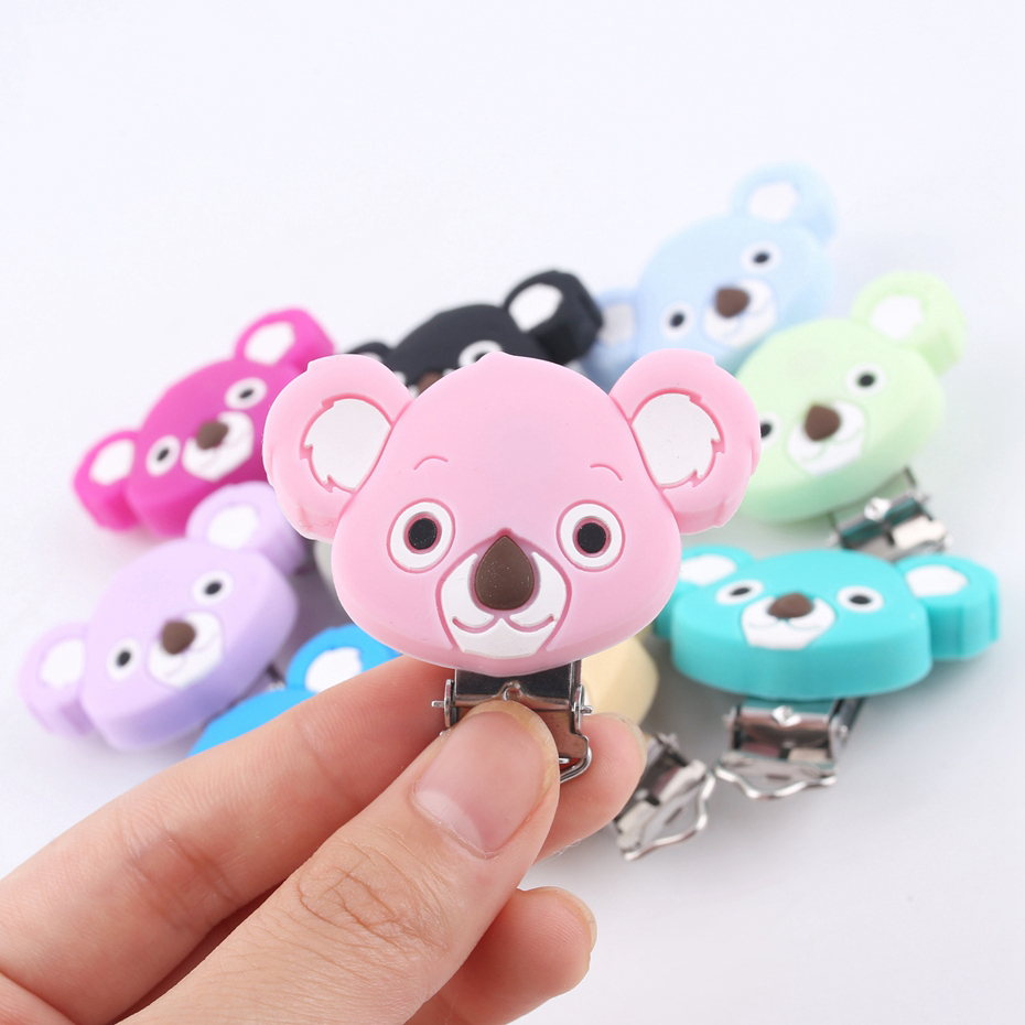 Nipple Holder Pacifier Clip Of Cartoon Animals Koala 5pc Silicone Teethers DIY Nursing Soother Clips Chains BPA Free Baby Teeth