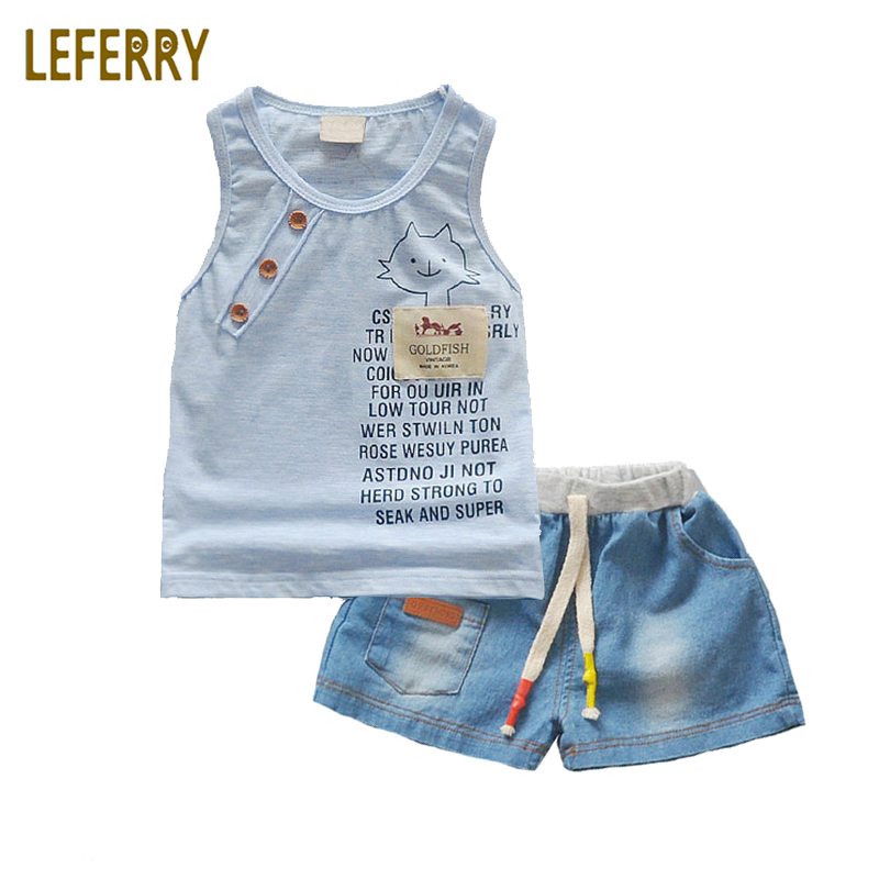 Baby Boy Clothes Sets Summer Style Infant Clothing Baby Set Toddler Boy Tank Tops + Jeans Shorts Cotton Outfits shirt baby boy summer clothes shorts sets baby boy set 100 cotton newborn baby girl summer clothes infant clothing suit outfits
