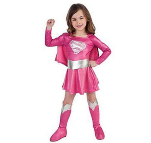 children pink superman costume girl dress halloween cosplay party super hero costume with cape boots belt N948