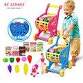 Niños mini innovador conjunto de juguete de ensamblaje de simulación de frutas supermercado carrito de la compra cesta de la compra toys for children envío rápido