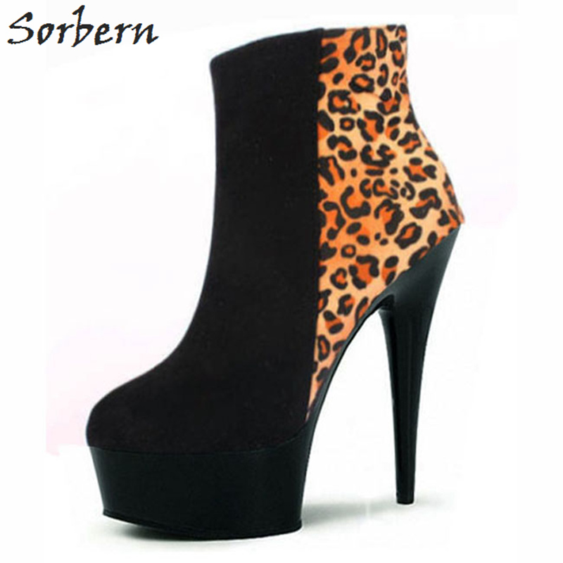 Sorbern Plus Size Ankle Boots For Women Flock Leopard High Thin Heels 2018 New Arrive Botas Mujer Platform Ladies Party Shoes fashion ladies party womens shoes punps high thin heels platform plus size custom made platform shoes new arrive hot sale