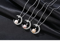 sterling silver pearl necklace moon fashion wild ladies item gift LSF03