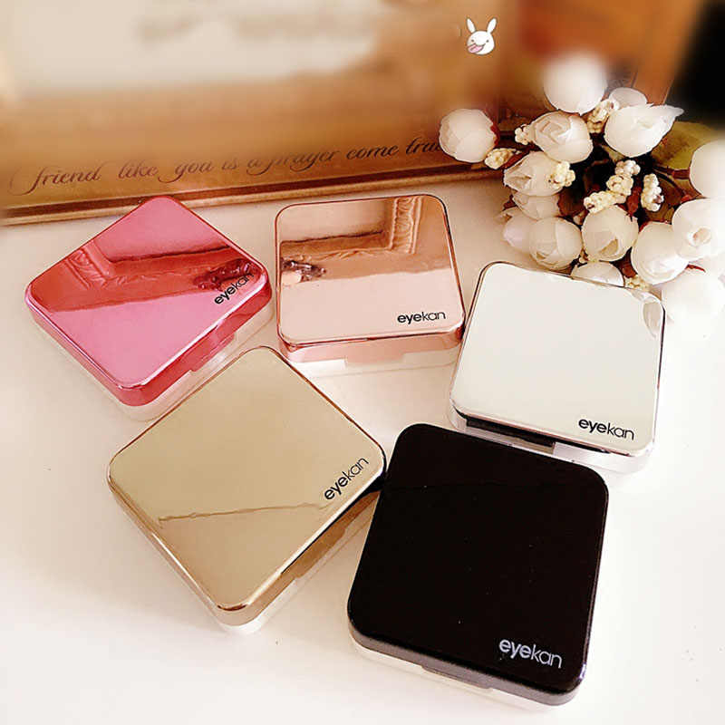 Reflective Cover Contact Lens Case With Mirror Color Contact Lenses Case Container Cute Lovely Travel Kit Box Women