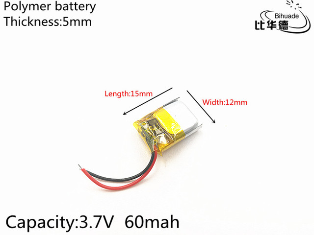 5pcs/lot 3.7V 60mAh 501215 Lithium Polymer Li Po li ion Rechargeable Battery cells For Mp3 MP4 MP5 toy mobile bluetooth