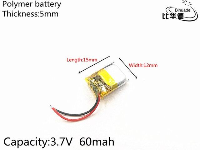 Литий полимерные аккумуляторные батарейки для Mp3, MP4, MP5, bluetooth, 5 шт./лот, 3,7 В, 60 мАч, 501215
