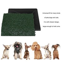 Large Pet Lawn Dogs Toilet Trainer Grass Mat House Indoor Training Dog Potty Litter Tray Pad Restroom With Drawer Black Bottom