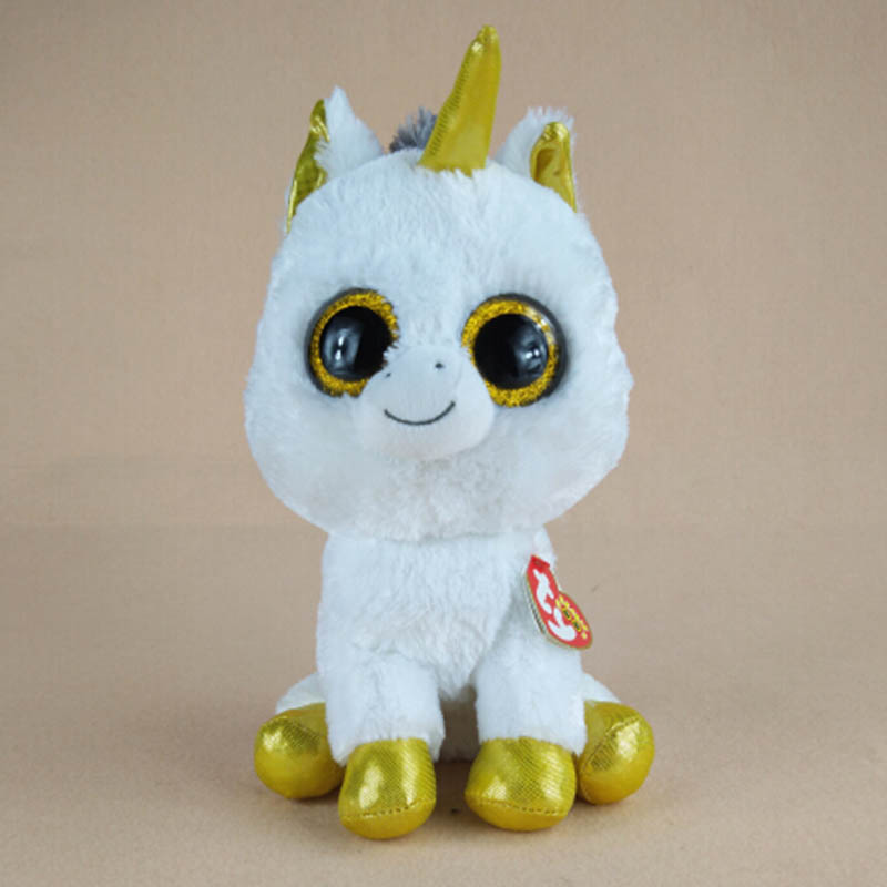22cm Large Kawaii Ty Beanie Boos Big Eyes White Unicorn Plush Soft Stuffed Animals Toys For