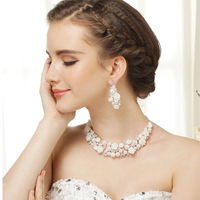New Unique Fashion Handmade Porcelain Pearl Rhinestone Flowers Pearl Necklace Bride Jewelry Set Accessories Marriage