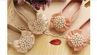 Pérolas meninas & Rhineston arco sapatos crianças usam em rosa ou bege festa/casamento primavera varejo/outono 1AS503-14R