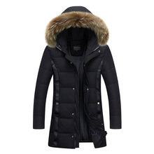 Winter New Style Warm Men's Jacket Parka Thick Warm Fur Collar Long Cotton Jacket Men Comfortable Cotton Hooded Parka Men