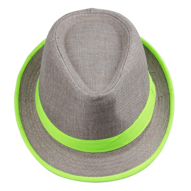 LNPBD Women Mens Unisex Neon Brim Fedora Trilby Gangster Cap Summer Beach  Hat Boho Sun Straw Chapeu De Praia Panama Hat-in Sun Hats from Apparel  Accessories ... 2718a3b7eb7