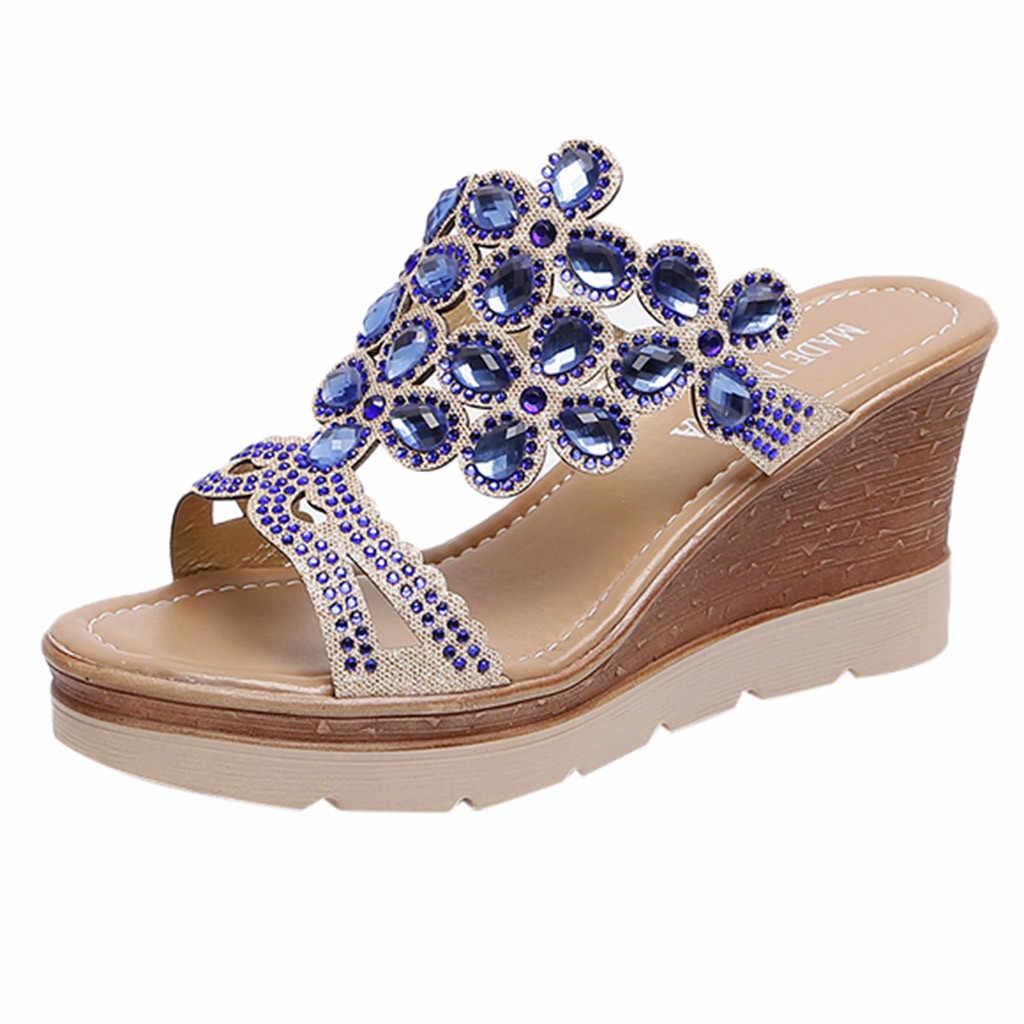 Jaycosin 新しい女性夏通気性ビーチスリッパラインストーンスリップウェ靴 2019 May8 p40