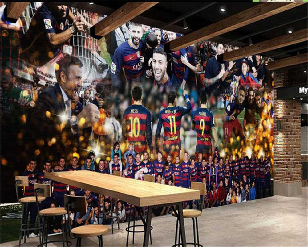 Beibehang Behang Kustom Skala Besar Wallpaper Mural High-End Wallpaper 3D Pertandingan Sepak Bola Bintang Latar Belakang Wallpaper untuk Dinding 3D