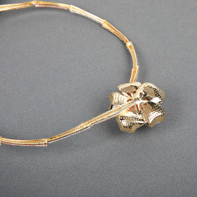 Dazz Мода Роскошный цветок Свадебный комплект ювелирных изделий циркон 3 цвета листьев Слои Медь кос Форма Для женщин Цепочки и ожерелья кольцо комплекты с браслетом подарок